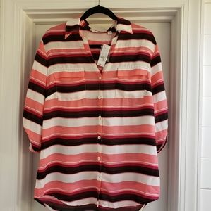 NY&Co Pink Striped Blouse